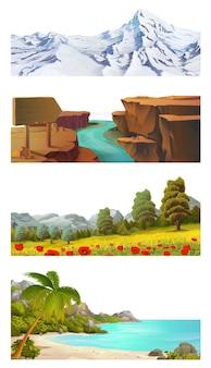Набор иллюстраций пейзаж природы