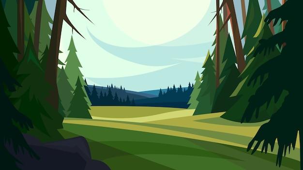 Природный пейзаж в мультяшном стиле с лесом и горами