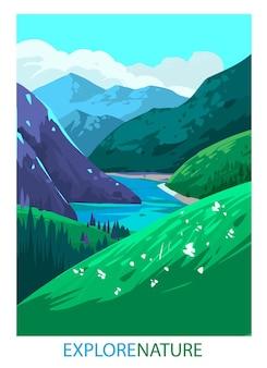 自然の風景。山の風景。