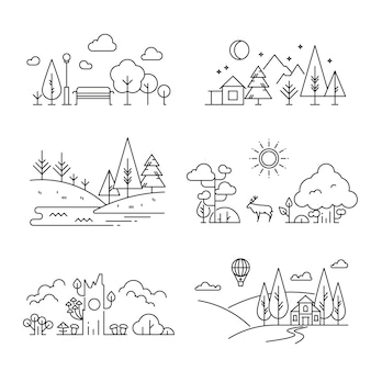 Nature landscape outline icons with tree