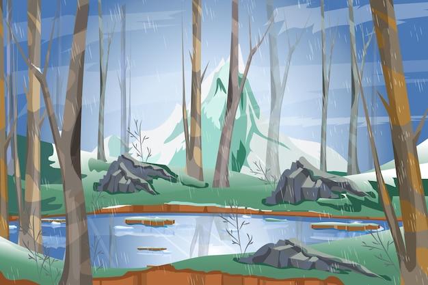 自然の風景湖と山のある針葉樹林の雨雨の日