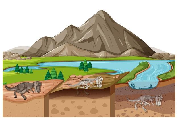 토양층에 공룡 화석이 있는 낮의 자연 경관