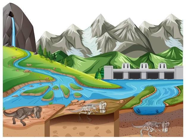 Сцена природного пейзажа в дневное время с окаменелостями динозавров в слоях почвы
