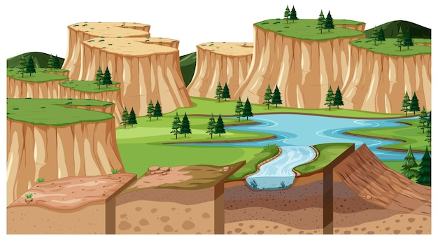 토양 층이 있는 낮의 자연 풍경 장면
