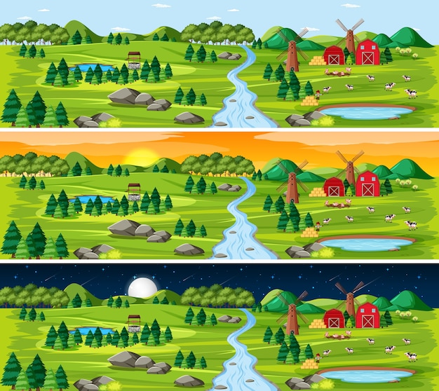 Сцена пейзажа природы в разное время дня