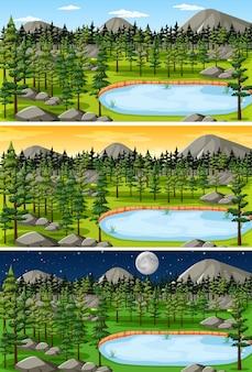さまざまな時間帯の自然景観シーン