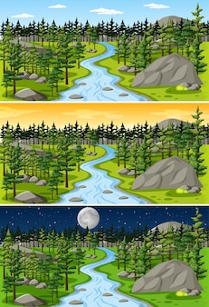 Nature landscape scene at different times of day