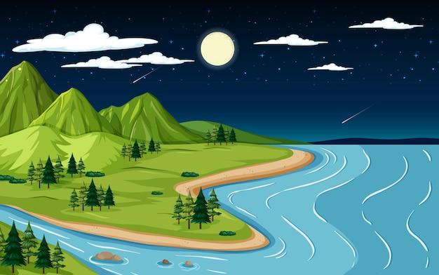 밤 시간에 산과 강 자연 풍경 장면
