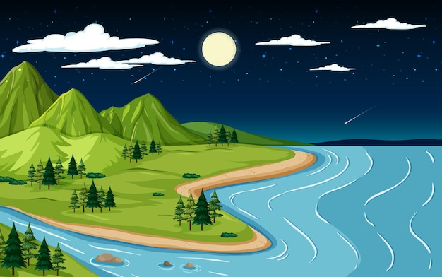 Nature landscape scene with mountain and river at night time