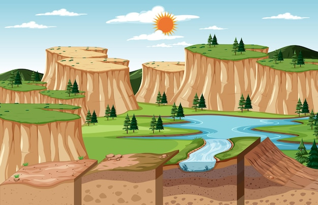 토양 층이 있는 자연 풍경 장면