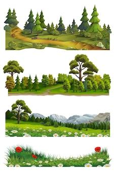 Природа пейзаж, векторный набор