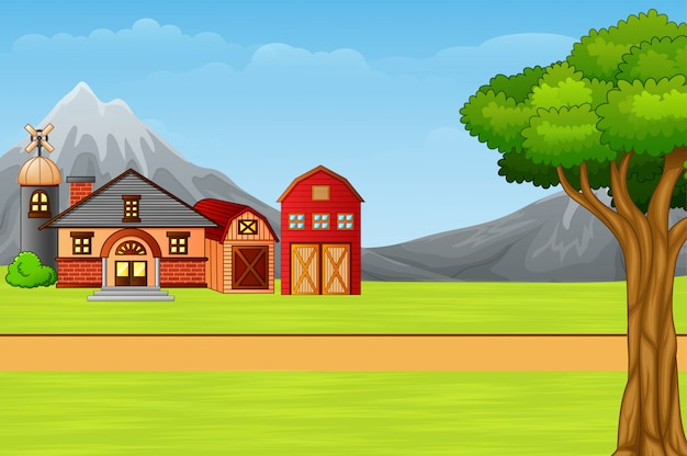 Nature landscape with cartoon country house