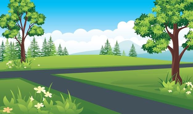 교차로가있는 자연 풍경, 산, 초원, 들판이있는 여름 풍경. 프리미엄 벡터