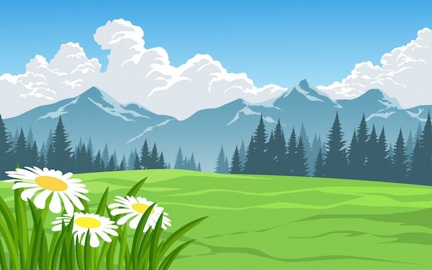Nature landscape with meadow and mountain