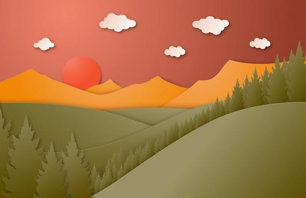 Природа пейзаж с горы, лес и солнце в стиле бумаги вырезать.