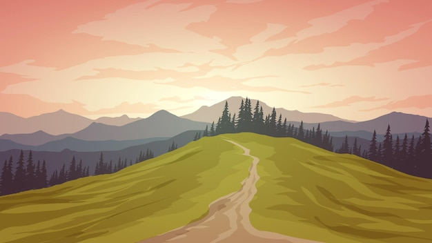Nature landscape with mountain and forest pathway