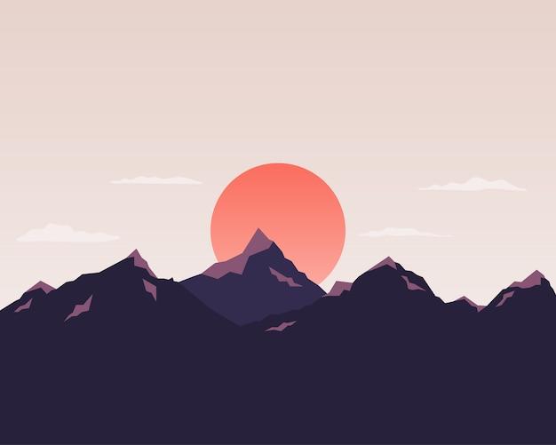 Природный пейзаж с горой, солнцем, небом. пейзаж силуэт