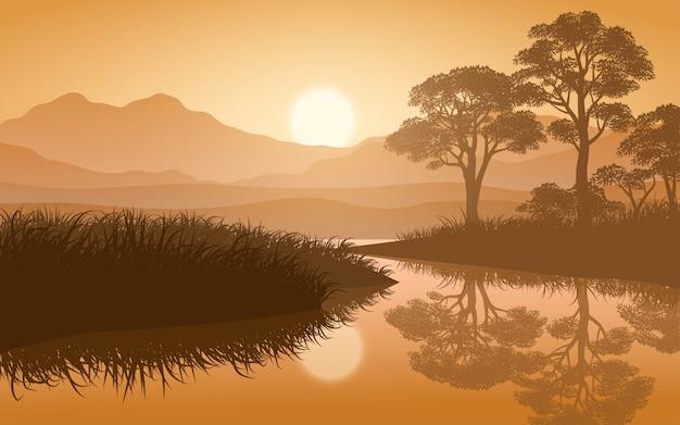 Природный пейзаж с рекой и горами