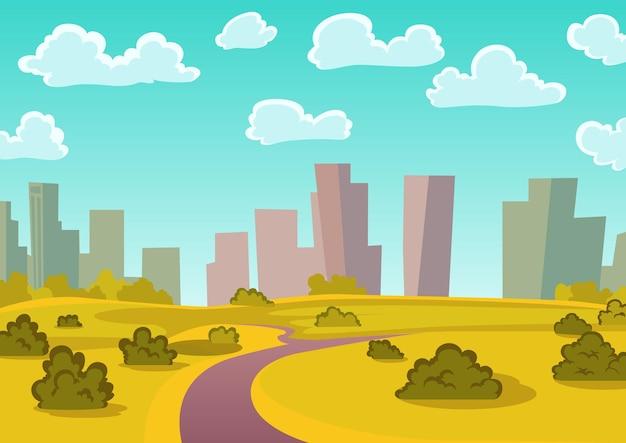 배경에 고층 건물과 자연 풍경입니다. 푸른 하늘과 높은 고층 빌딩이 있는 도시 풍경.