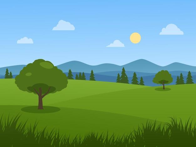Природный пейзаж с деревьями и лугом в солнечный день