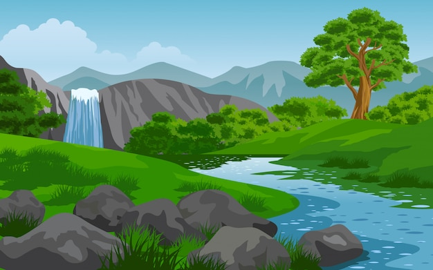 Nature landscape with waterfall and rocks