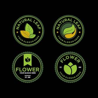 自然の葉と花のビンテージロゴデザインテンプレート