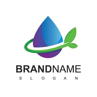 Природа лист и логотип воды
