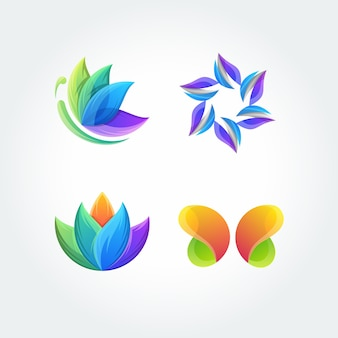Nature leaf butterfly set application icon logo vector