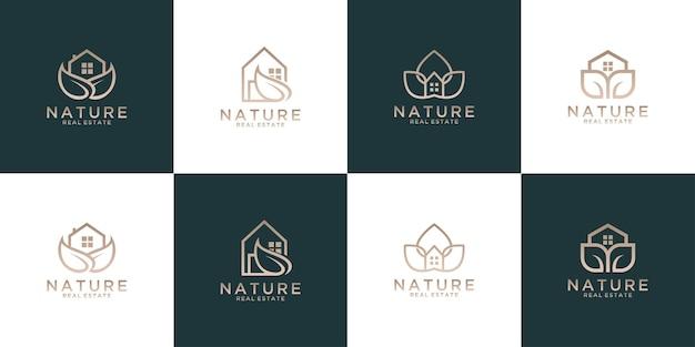 자연 잎 집 로고 디자인 컬렉션. 부동산 및 호텔 로고에 적합