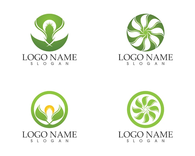 Nature leaf icon logo vector template