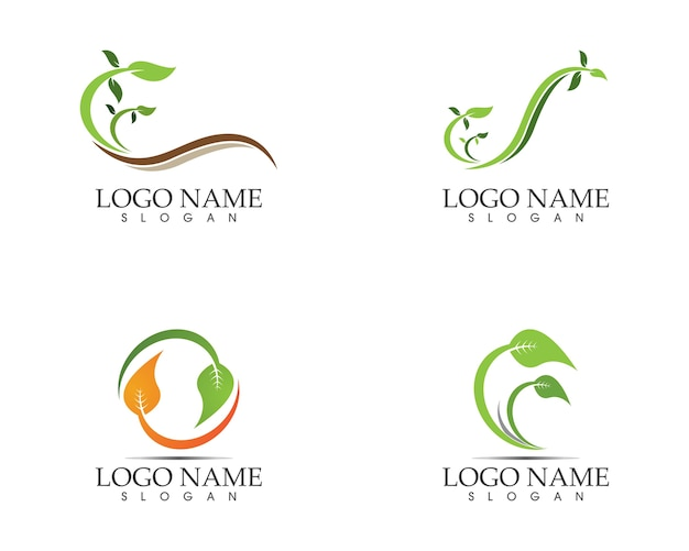 자연 잎 아이콘 기호 로고