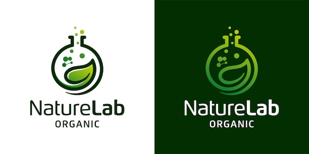 Nature leaf lab with molecule logo  inspiration template