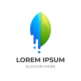 自然の葉のロゴのデザインテンプレート、葉と水のロゴの組み合わせ
