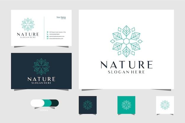 선 스타일과 명함이있는 자연 잎 로고 디자인