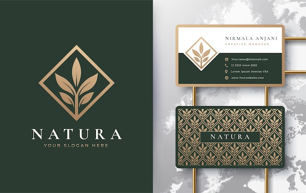 Nature leaf logo with business card