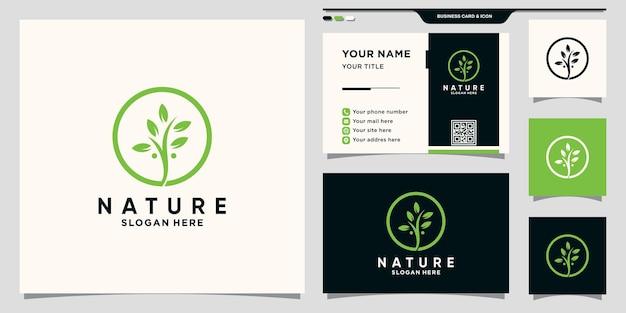 원형 라인 아트와 명함 디자인이 있는 자연 잎 로고 premium vector