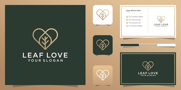 Nature leaf and love logo line art style and business card