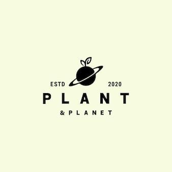 自然の葉の植物と惑星のロゴのデザイン
