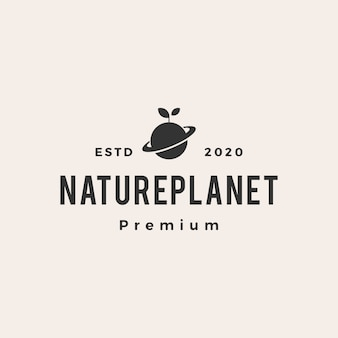 Nature leaf sprout planet  vintage logo  icon illustration