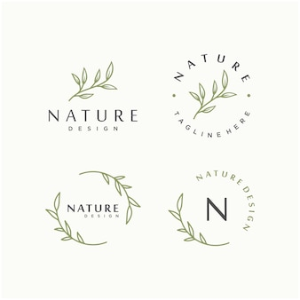 Nature leaf vector logo design template