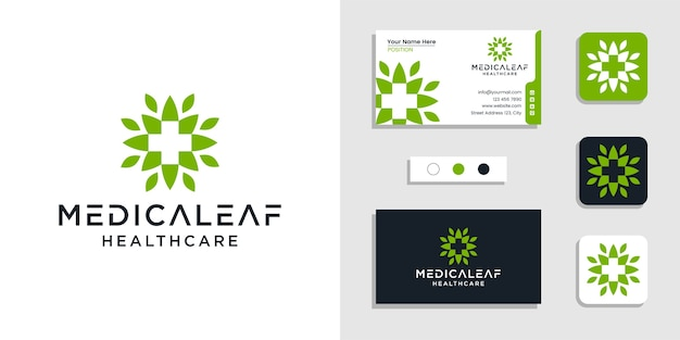 Nature leaf with plus sign medical healthcare logo icon and business card design template