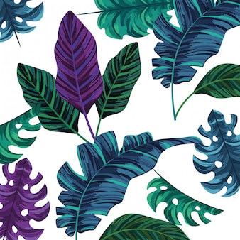 Nature leafs cartoon pattern background