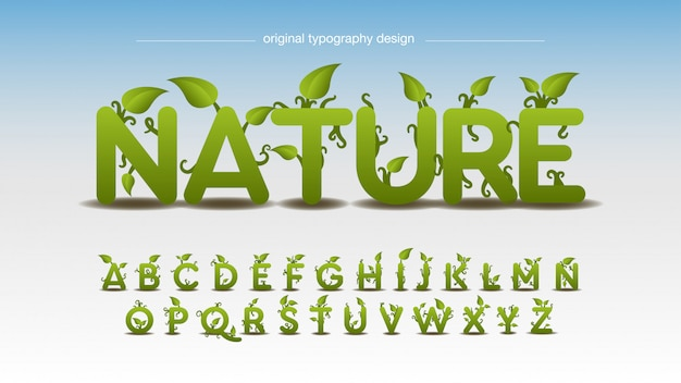 Nature and leaves effect typography design