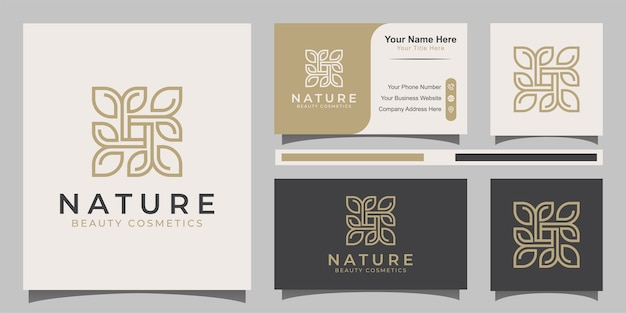 Nature leaves logo square with line art style
