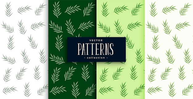 Nature leaves pattern background set of four