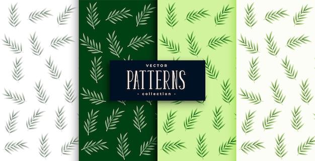 자연 잎 패턴 배경 4 세트