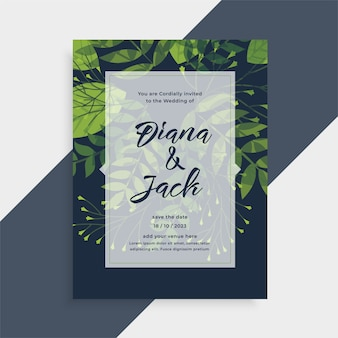 Nature leaves style wedding card invitation template