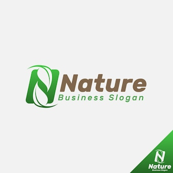 Nature - letter n logo template