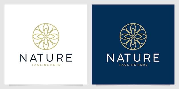 자연 라인 아트 원형 로고 디자인