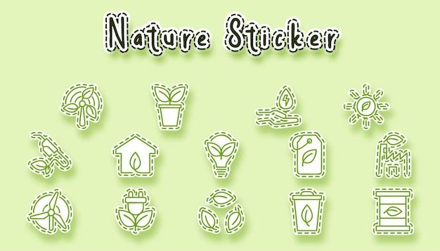 자연 라인 아트 스티커